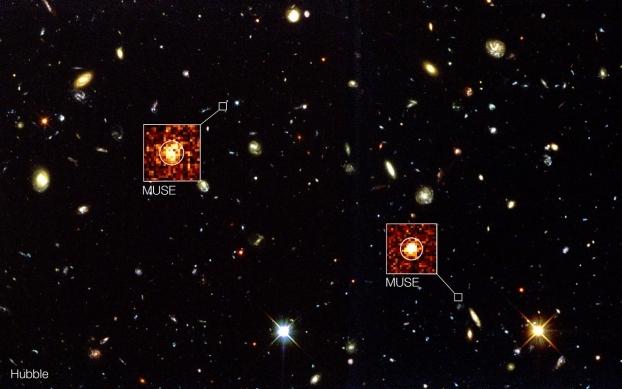 MUSE va au-delà de Hubble dans le champ profond sud de Hubble. Crédit: ESO/MUSE Consortium/R. Bacon
