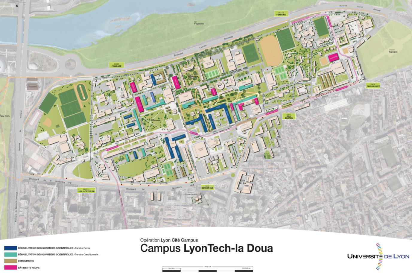 Plan campus LyonTech La Doua