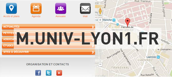 Site mobile : carte des campus, géolocalisation, agenda...